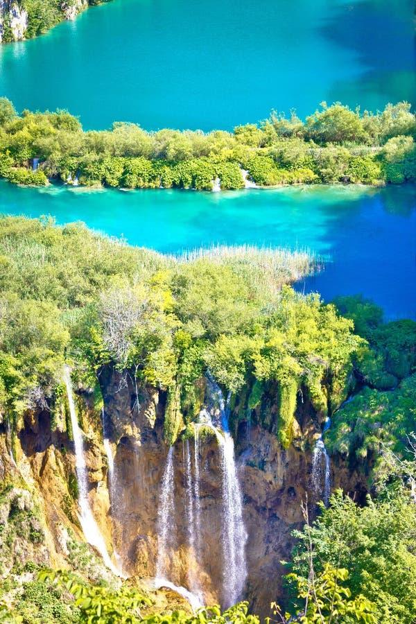 Opinión de la vertical del parque nacional de los lagos Plitvice fotos de archivo