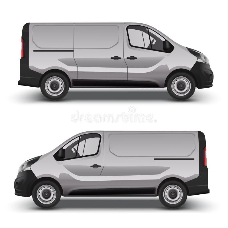 Opinión de lado izquierdo correcto y del minivan gris libre illustration