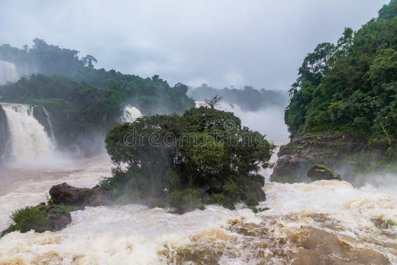 Opinión de las cataratas del Iguazú del lado brasileño - frontera del Brasil y de la Argentina imagen de archivo