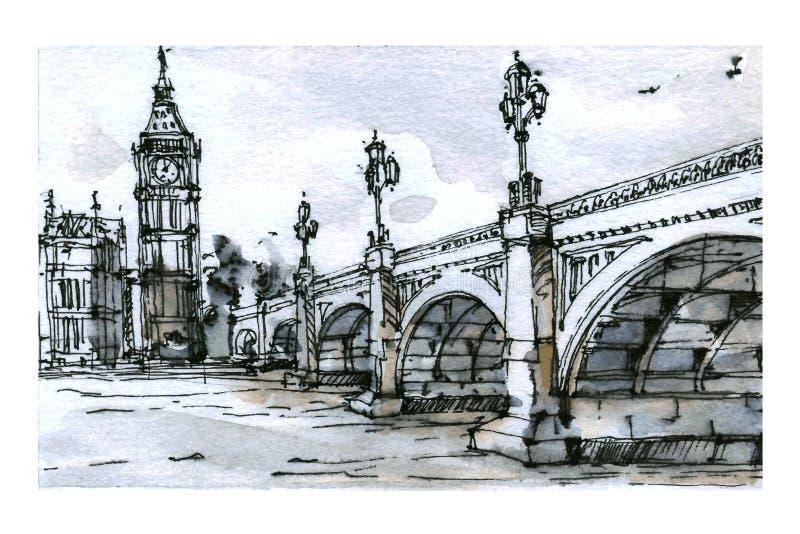 Opinión de Londres Técnica de la acuarela libre illustration