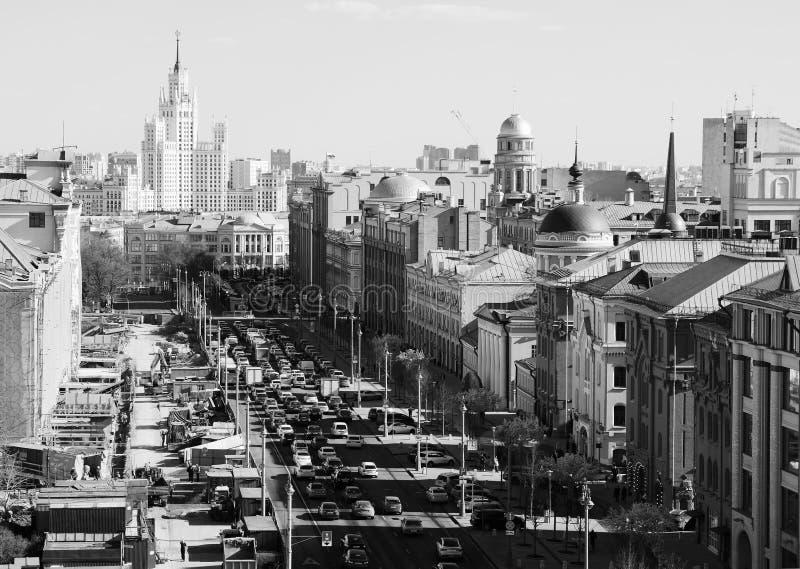 Opinión de Moscú del fondo del atasco del cuadrado de Lubyanka foto de archivo