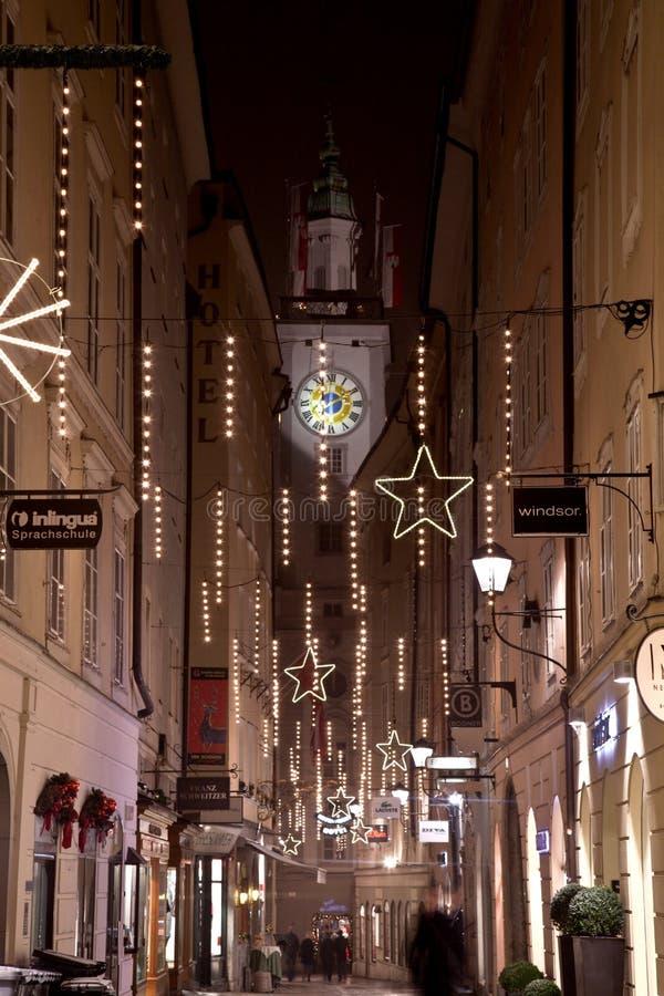 Opinión de noche de la Navidad de Salzburg, Austria imágenes de archivo libres de regalías