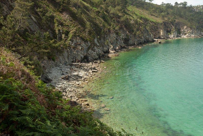 Opinión de océano Fondo de la naturaleza con nadie Morgat, península de Crozon, Bretaña, Francia fotos de archivo libres de regalías