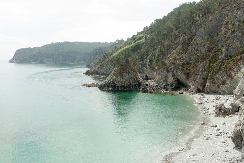 Opinión de océano Fondo de la naturaleza con nadie Morgat, península de Crozon, Bretaña, Francia imagenes de archivo