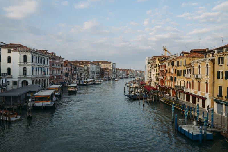 Opinión de Panaromic del canal veneciano grande por la mañana foto de archivo libre de regalías