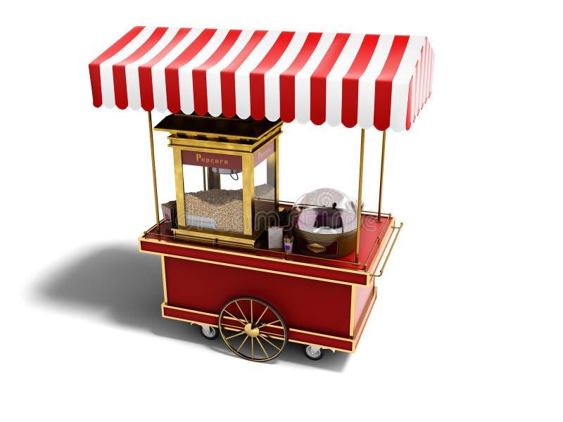 Opinión de perspectiva portátil roja de la tienda de las palomitas 3d rendir en el fondo blanco con la sombra stock de ilustración