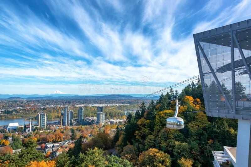 Opinión de Portland y tranvía aérea imagen de archivo