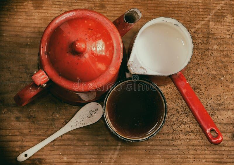 Opinión de set-top pintada viejo vintage del café fotografía de archivo
