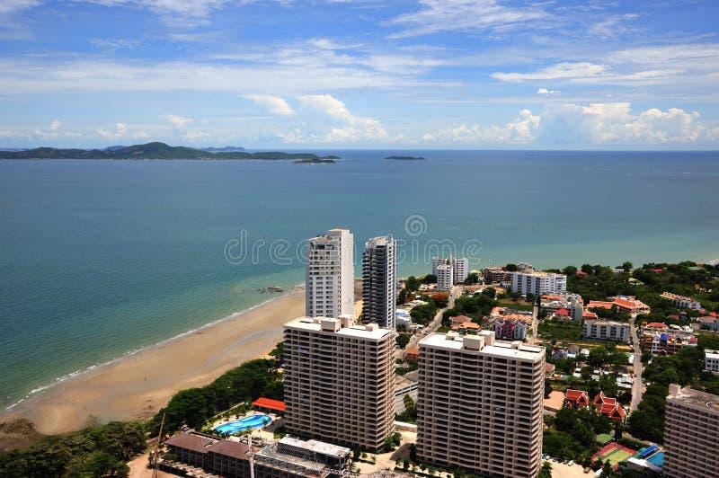 Opinión de Tailandia de la bahía de Jomtien y de Pattaya imagenes de archivo