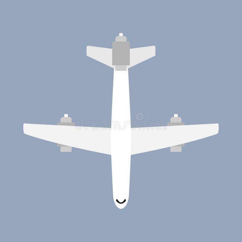 Opinión de top del vehículo del viaje del transporte del vuelo del aeroplano Ejemplo comercial del vector plano ilustración del vector