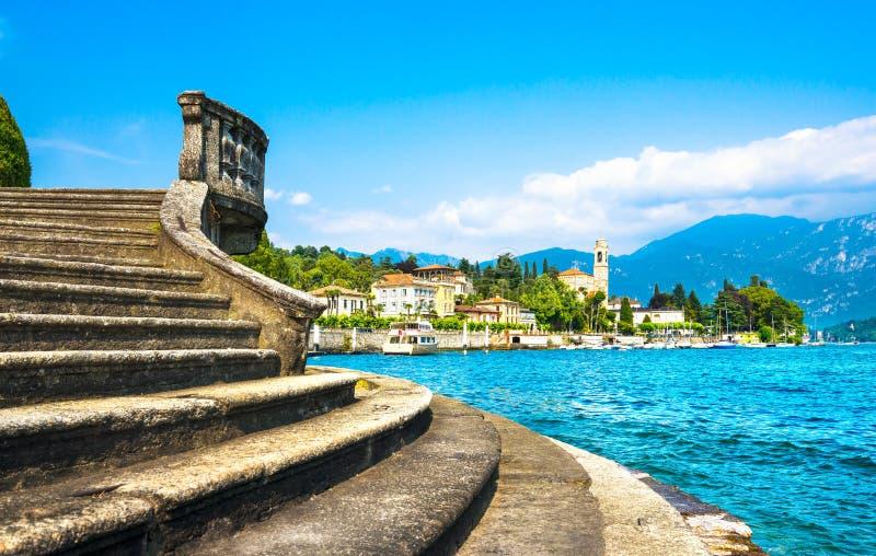 Opinión de Tremezzo Tremezzina, paisaje del distrito del lago Como Italia, E fotografía de archivo