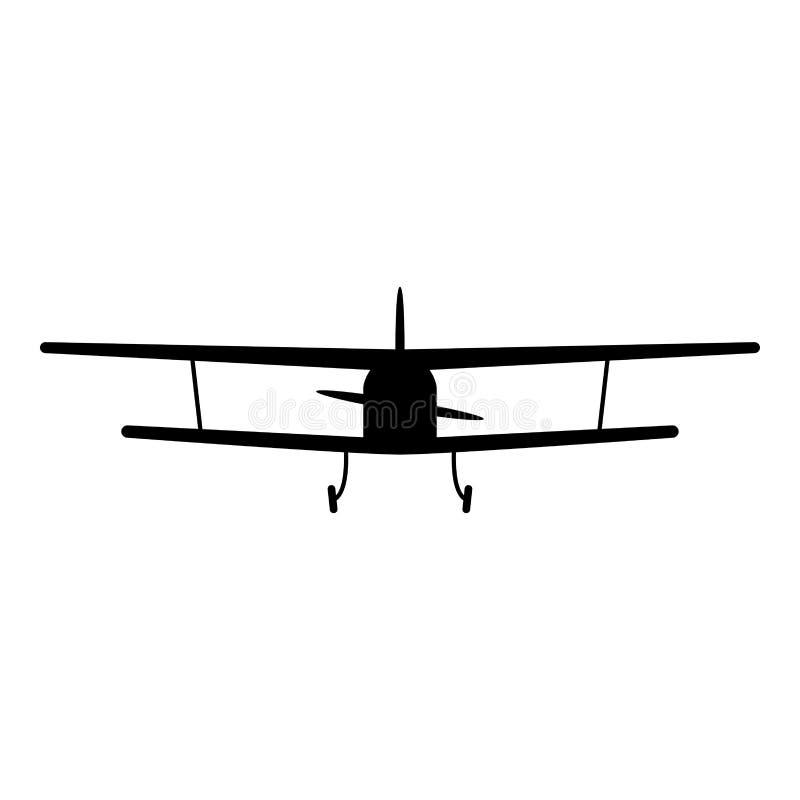 Opinión del aeroplano con imagen plana delantera del estilo de la máquina que vuela de los aviones ligeros del icono del negro de libre illustration