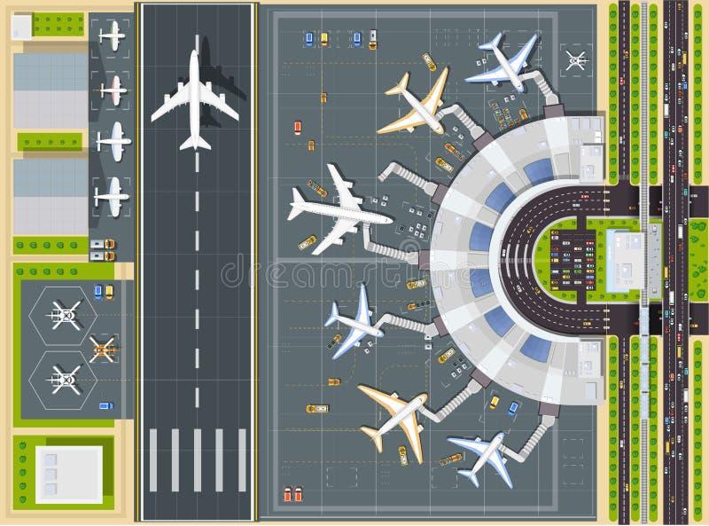 Opinión del aeropuerto desde arriba ilustración del vector