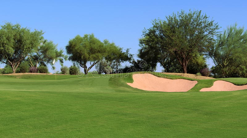 Opinión del campo de golf imagen de archivo