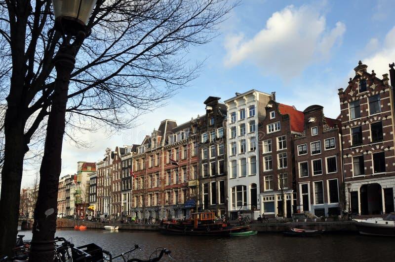 Opinión del canal de Amsterdam foto de archivo libre de regalías
