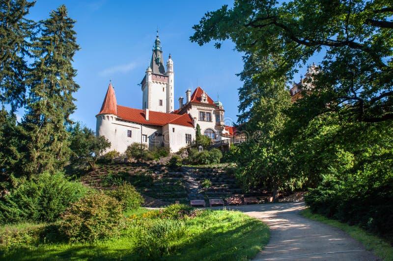Opinión del castillo de Pruhonice del parque imagen de archivo