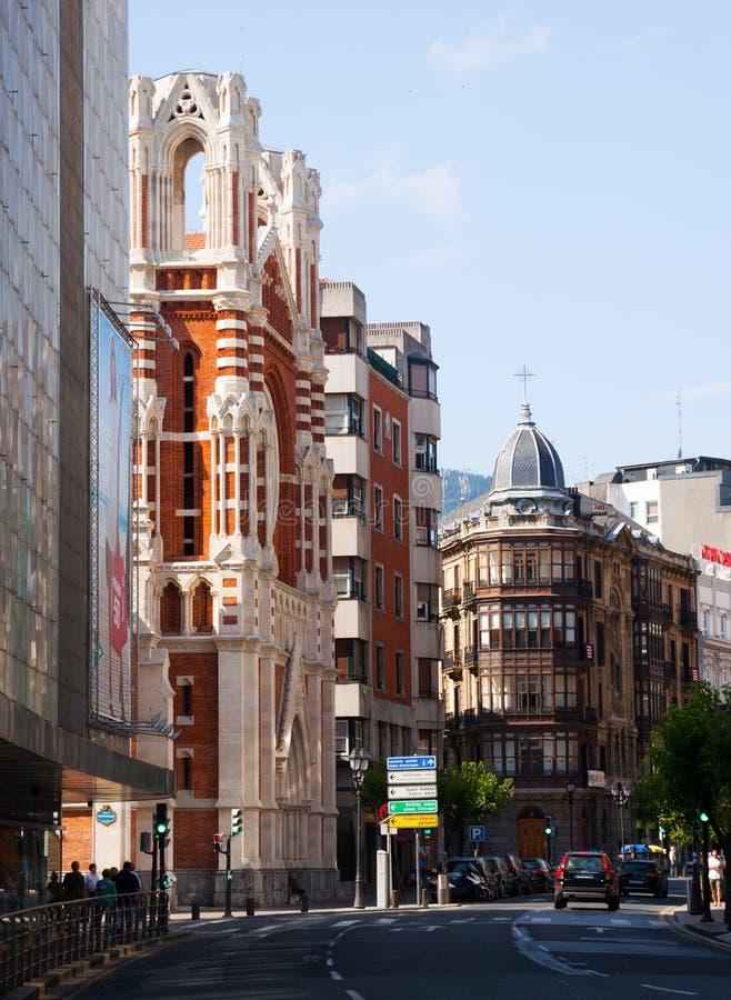 Opinión del día de la calle en Bilbao fotografía de archivo libre de regalías