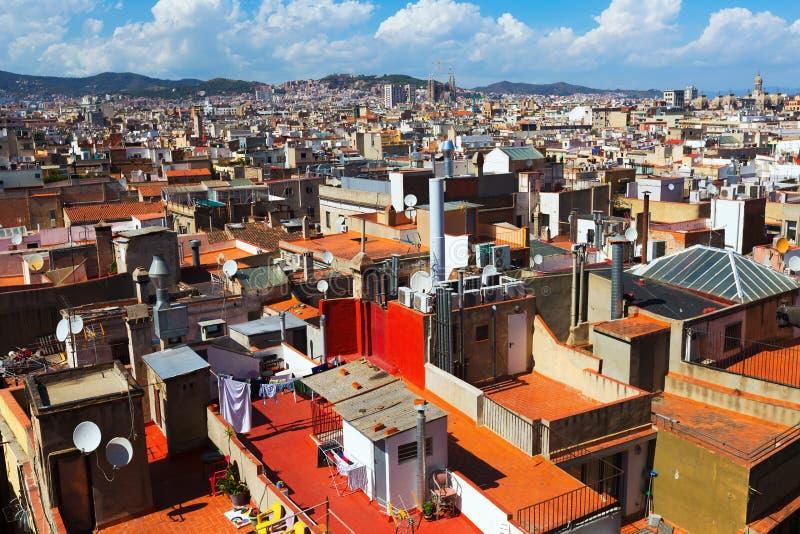 Opinión del día de la ciudad de Barcelona de Santa Maria Del Mar foto de archivo libre de regalías