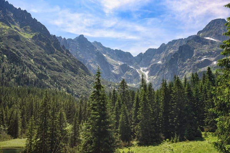 Opinión del día soleado de las montañas de Tatra en la frontera de Polonia y de Eslovaquia fotos de archivo libres de regalías