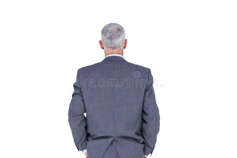 Opinión del desgaste el hombre de negocios con el pelo gris imagenes de archivo