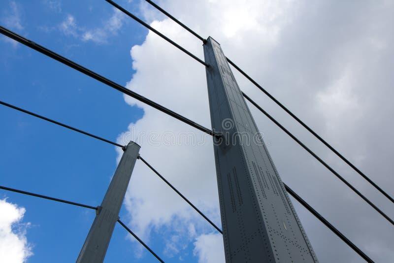 Opinión del detalle del Theodor-Heuss-puente foto de archivo