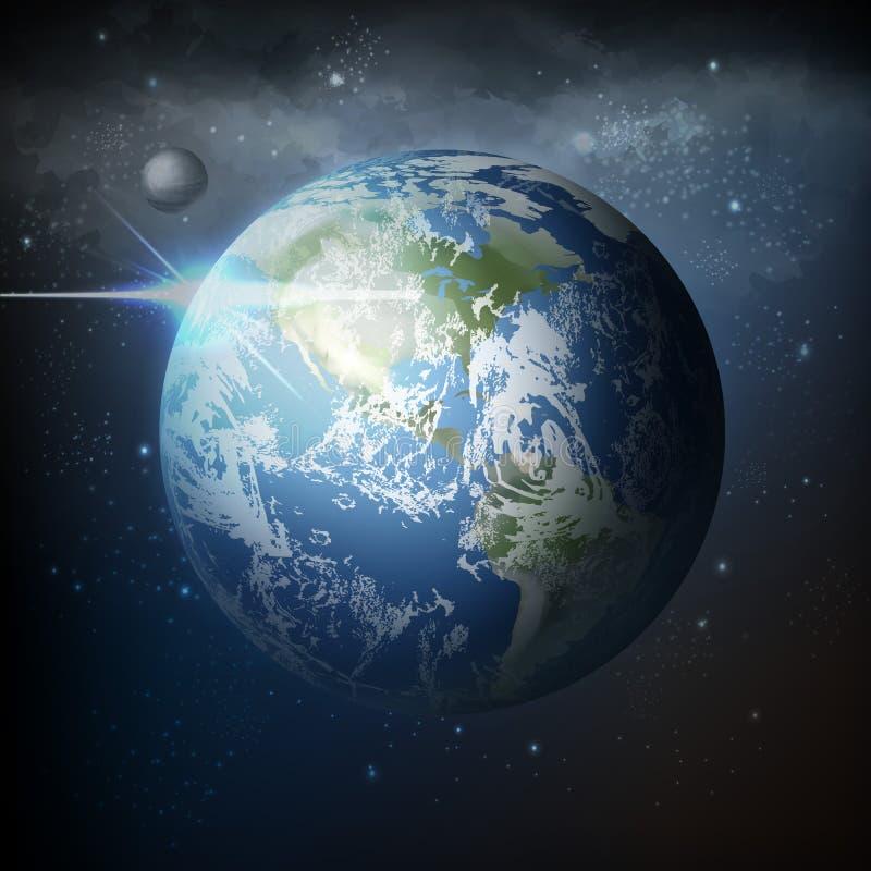 Opinión del ejemplo del vector del espacio de la tierra realista del planeta con la luna en universo con la vía láctea en fond ilustración del vector