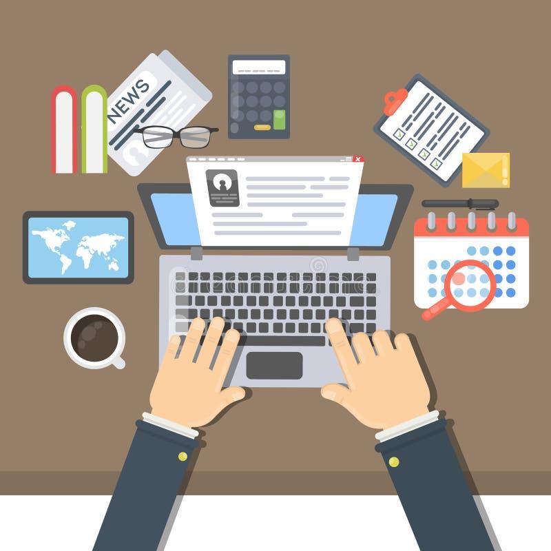 Opinión del escritorio del hombre de negocios stock de ilustración