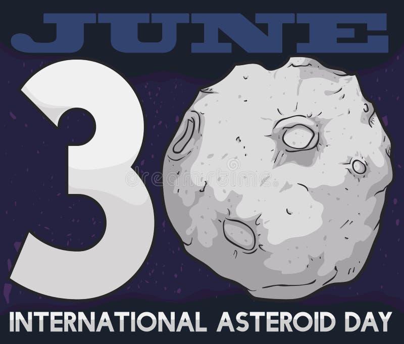 Opinión del espacio con la fecha para el día asteroide internacional, ejemplo del vector stock de ilustración