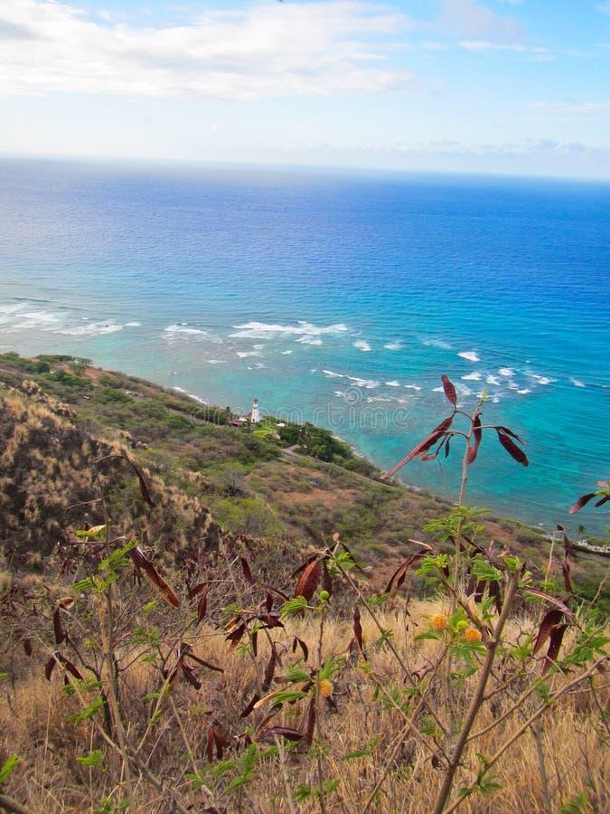 Opinión del faro de Diamond Head Crater en Honolulu Hawaii fotos de archivo libres de regalías