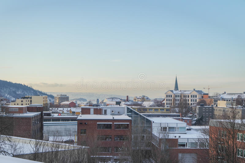 Opinión del fiordo de Oslo en invierno fotos de archivo libres de regalías
