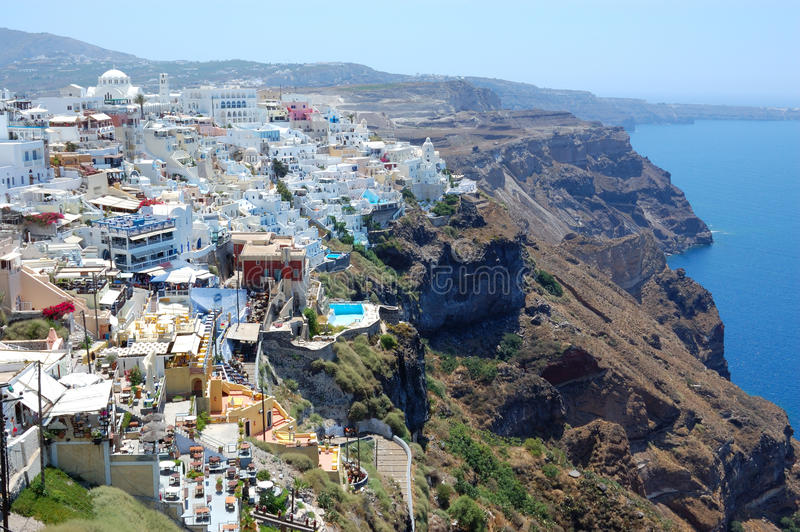 Opinión del fira de la isla de Santorini imágenes de archivo libres de regalías