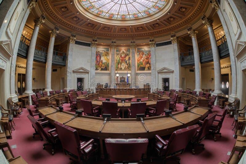 Opinión del fisheye de la cámara de senado de Wisconsin imagen de archivo