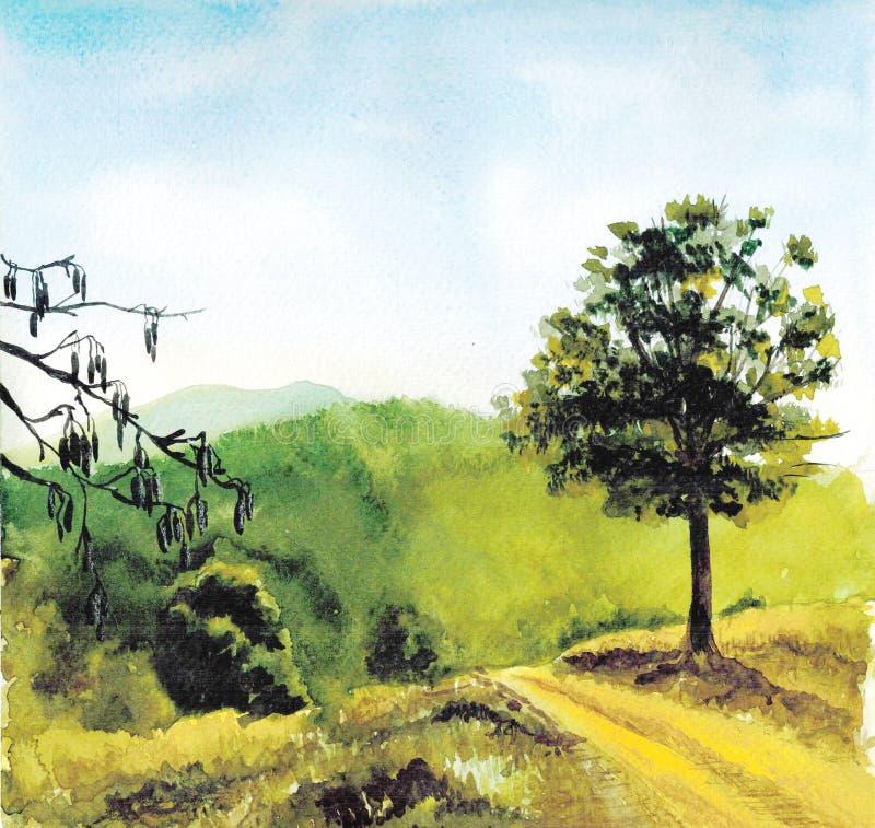 Opinión del fondo del dibujo de un ejemplo soleado hermoso de la acuarela del paisaje ilustración del vector