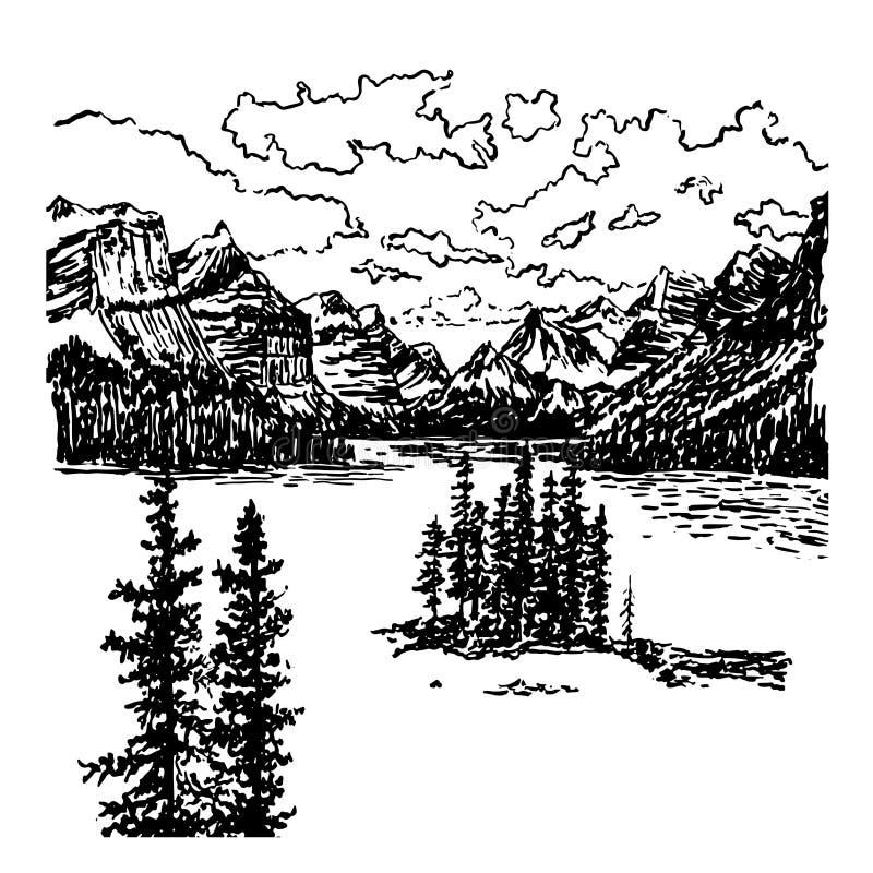 Opinión del fondo del paisaje de la montaña con el lago alpino y el bosque spruce, ejemplo dibujado mano de la tinta del bosquejo stock de ilustración