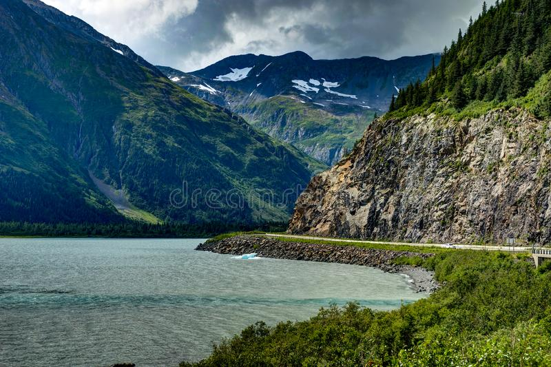 Opinión del glaciar de Whittier en Alaska los Estados Unidos de América foto de archivo