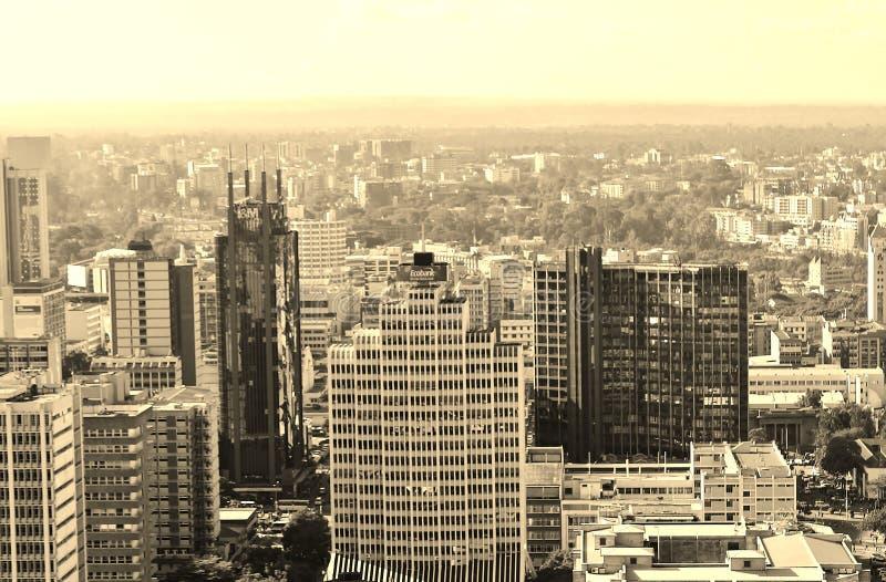 Opinión del horizonte de Nairobi de la ciudad fotos de archivo libres de regalías
