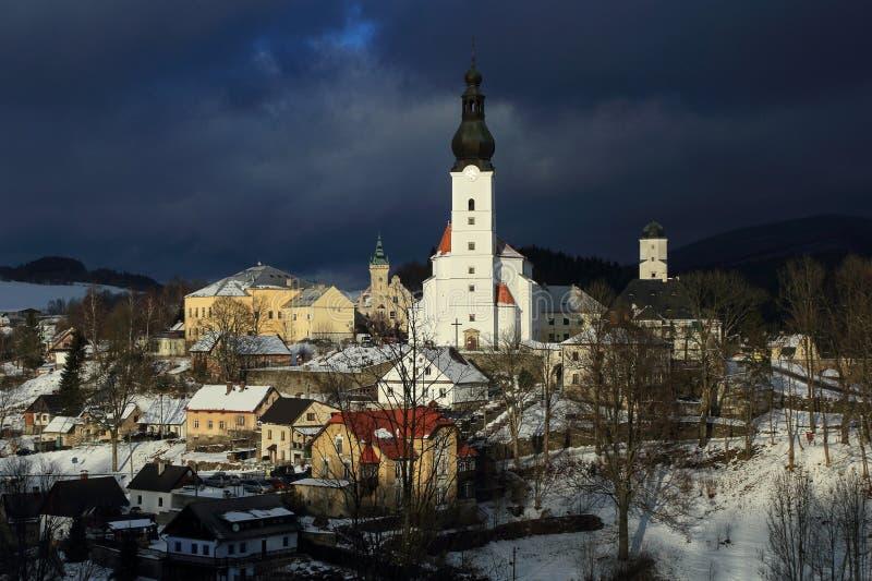 Opinión del invierno de la ciudad de Branna fotografía de archivo libre de regalías
