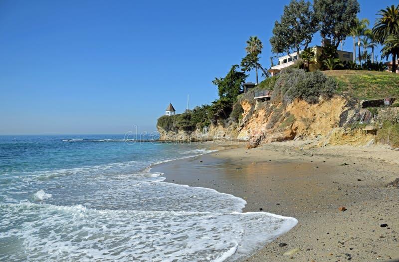 Opinión del invierno de la ensenada en Laguna Beach, California de Fishermans fotografía de archivo