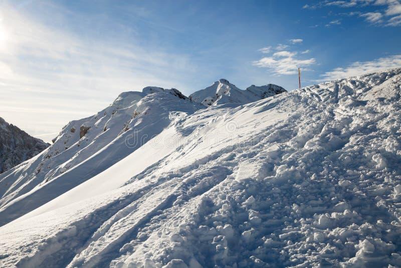 Opinión del invierno de la montaña fotos de archivo