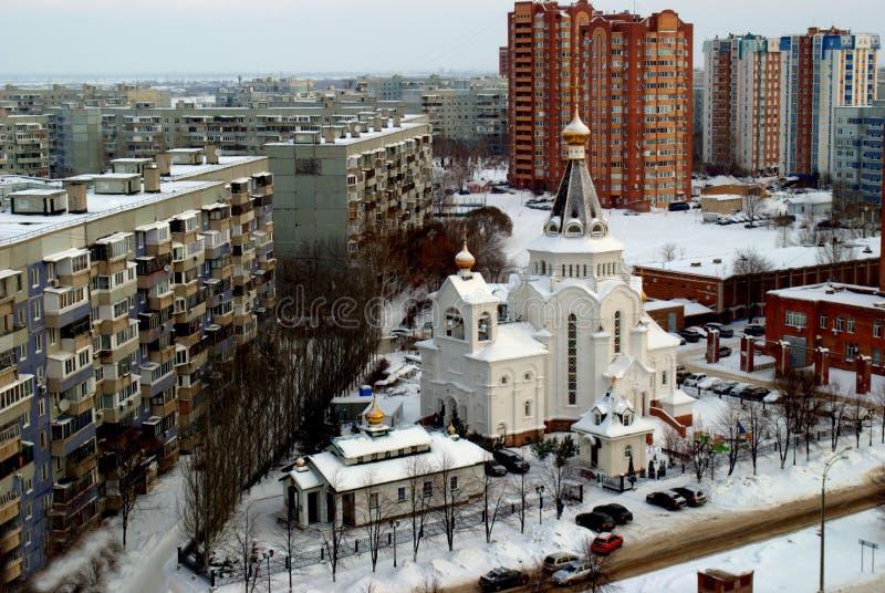Opinión del invierno de la parroquia en honor de St John de Kronstadt y de la iglesia de Duke Alexander Nevsky magnífico santo imagen de archivo