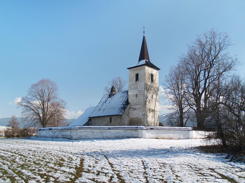 Opinión del invierno de toda la iglesia de los santos en Ludrova imagen de archivo libre de regalías