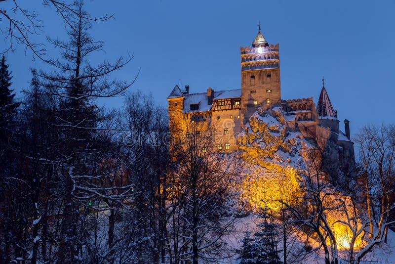 Opinión del invierno del castillo del salvado imagenes de archivo