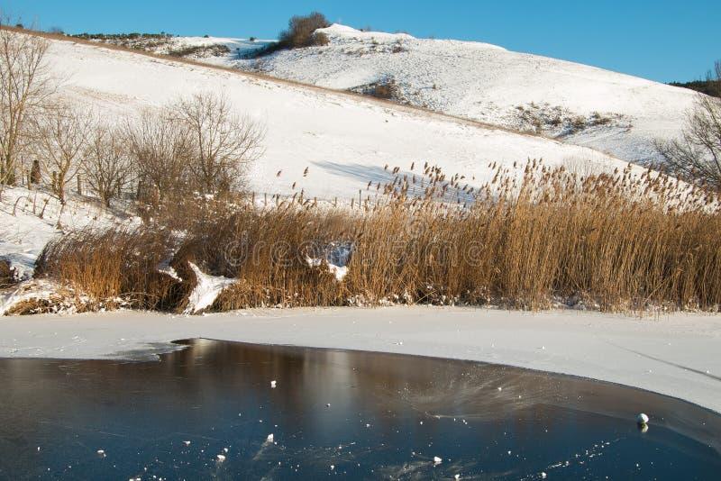 Opinión del invierno del lago congelado Colfiorito en Umbría fotografía de archivo libre de regalías