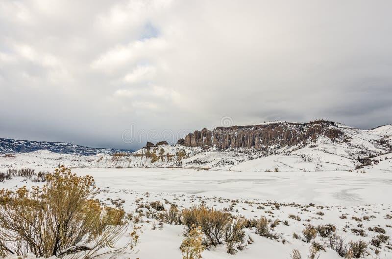Opinión del invierno Dillon Pinnacles imágenes de archivo libres de regalías