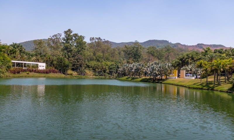 Opinión del lago en Inhotim Art Museum contemporáneo público - Brumadinho, Minas Gerais, el Brasil fotografía de archivo