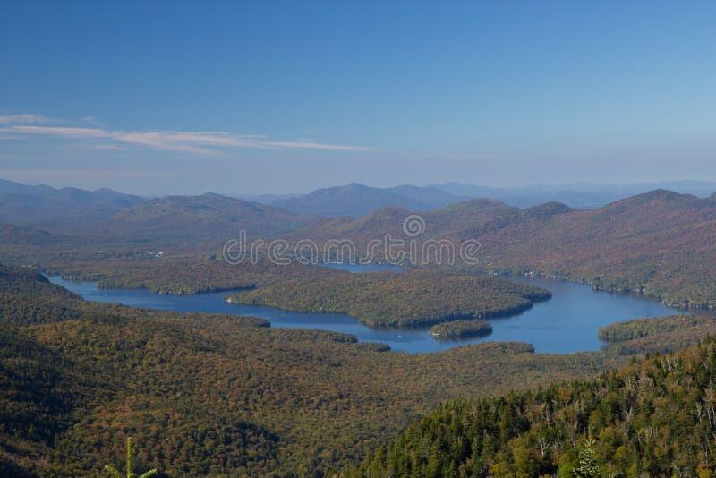 Opinión del Lake Placid del top de la montaña de Whiteface fotos de archivo