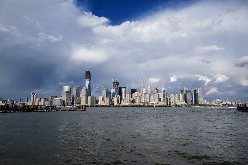 Opinión del Lower Manhattan de Jersey City imagen de archivo