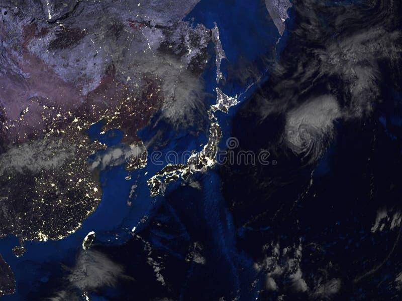 Opinión del mapa de Asia y de Japón del espacio 3d stock de ilustración