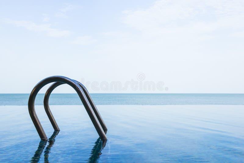 Opinión del mar de la piscina del infinito con el cielo imagenes de archivo