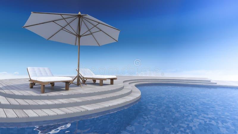 opinión del mar de la terraza 3d ilustración del vector